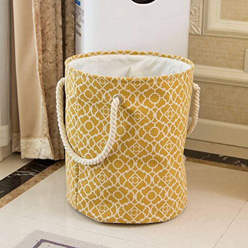 Luckyfree Panier à linge en coton d'vêtements sales jouets Panier Panier de rangement, snack-Débris motif jaune Grand: 38 * 45cm