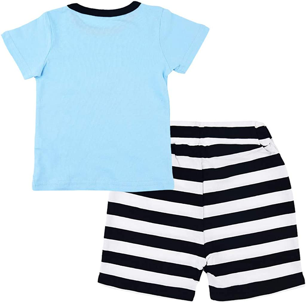 LUBITY 2PCS Enfant T-Shirt Manches Courtes /à Col Rond en Vrac Imprim/é Enfant Gar/çon Chic Et Imprim/é Avion Blouse Pantalon en Dentelle /à Rayures Noires Et Blanches