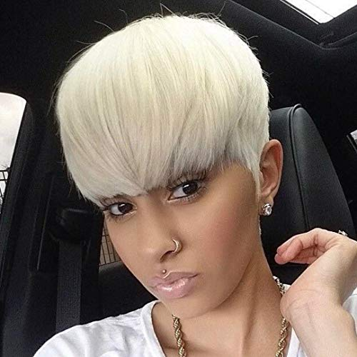 BeiSD Mixed Blonde White Wig Short Pixie Cuts Hair Wigs For Women Girls Short Wigs Heat Resistant Synthetic Wigs For Women -