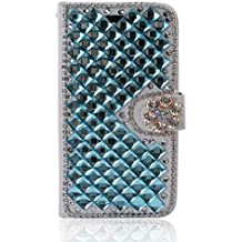 Alcatel A3 XL Case,Gift_Source [Card Slot] Luxury Bling Rhinestone Magnetic Wallet PU Leather Purse Crystal Case Flip Stand Cover for Alcatel A3 XL (6.0 inch) [Blue]
