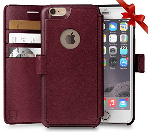Faux Leather Case Protector (iPhone 6, 6s Wallet Case, Durable and Slim, Lightweight with Classic Design & Ultra-Strong Magnetic Closure, Faux Leather, Burgundy, Apple 6/6s (4.7 in))
