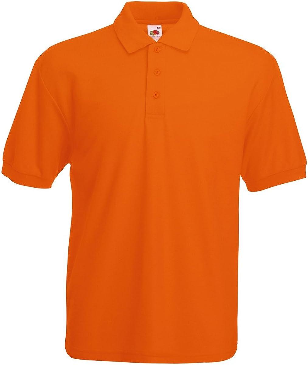 Pack de 3: polo para hombre 65/35 de manga corta de Fruit of the Loom, lavar a 60 ° Naranja naranja 3XL: Amazon.es: Ropa y accesorios