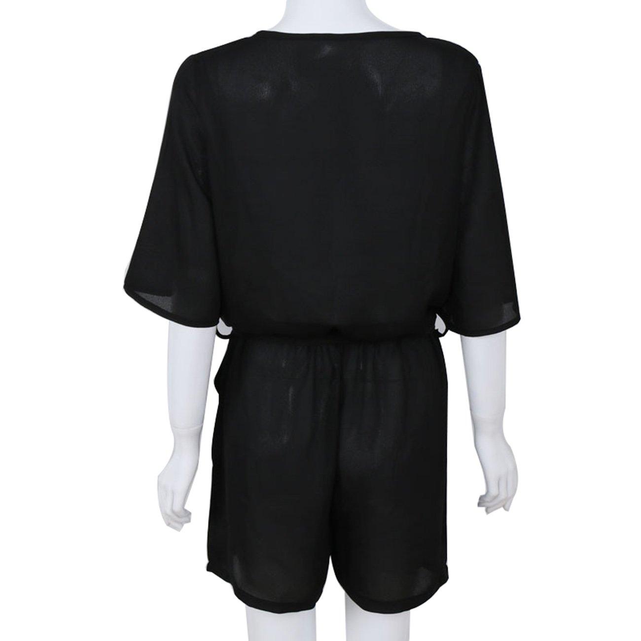 Sumtory Black Romper for Women Flare Sleeve Loose Jumpsuit Short Playsuit M
