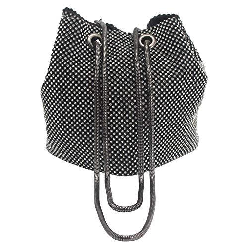 Wocharm Womens Rhinestones Diamonds Clutch Evening Shoulder Bucket Bags Handbags (Black) -