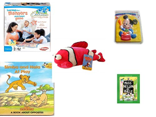 Children's Gift Bundle - Ages 3-5 [5 Piece] - Noodleboro Picnic Basket Manners Game - Preschool Disney Baby Mickey 3D Puzzle Toy - Toy Factory Coral Reef Fish Pink White Plush - Simba and Nala at Pl ()