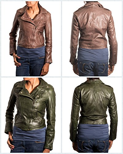 Femmes Brun Court Brando de motard Veste en cuir. Veste Mince avec une fermeture Žclair latŽrale