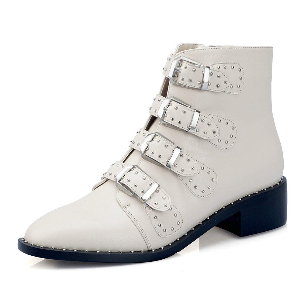 Beige AnMengXinLing Rivet Studded Ankle Boot Women Block Low Heel Pointed Toe Leather Buckle Strappy Punk Cowboy Chelsea Boot