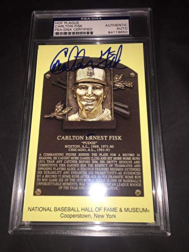 Carlton Fisk Signed Official Baseball HOF Plaque Postcard Slab Red Sox - PSA/DNA Certified - MLB Cut ()