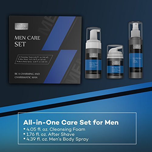 Men Care Kit, 1 x Face Cleansing Foam, 1 x After Shave Gel and 1 x Cologne Body Spray for Men, Skincare Set for Sensitive Skin - Anjou