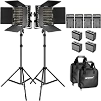Neewer Bi-color LED Video Light and Stand Kit with Battery and Charger-660 LED with U Bracket and Barndoor(3200-5600K,CRI 96+), 3-6.5 feet Adjustable Light Stand for Studio, YouTube Shooting (2 Pack)