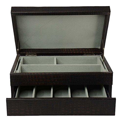 Top Quality Men's Black Leather Jewelry Box And Valet Storage Box Organizer by Bombay Brand