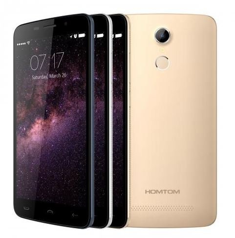 Neueste veröffentlicht HOMTOM HT17 Android 6.0 Smartphone 4G 5.5 Zoll HD Fingerabdruckerkennung 64bit MTK6737 Quad-Core 7,9 mm Dicke (Gold)