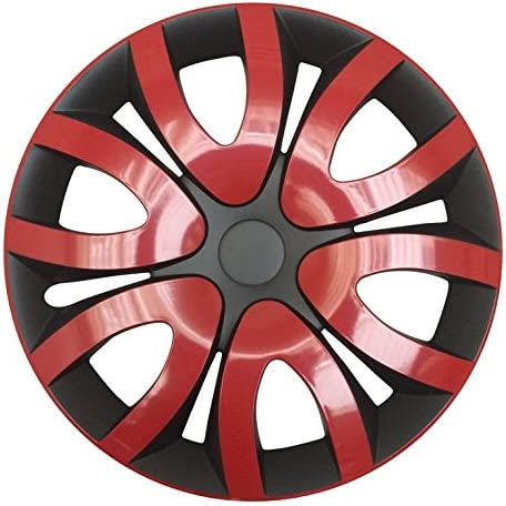 Premium Radkappen Radzierblenden Radblenden Modell Mika 4er Set Farbe Rot Schwarz Felgendurchmesser 14 Zoll Auto