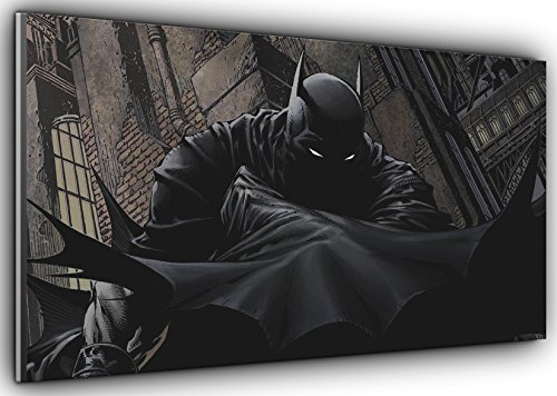 Comic Batman Batman Dark Knight Panoramic Canvas Art Print Picture Framed XXL 55 inch x 24 inch Over 4.5 ft Wide x 2 ft high Ready to Hang ()
