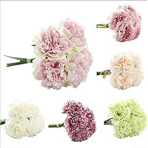 Lankcook 1 Bouquet Artificial Silk Fake Flowers Peony Floral Wedding Bouquet Bridal Hydrangea Decor 108