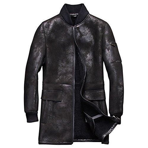 Denny&Dora Mens Shearling Coat Mens Fur Coat Long Style Baseball Sheepskin Leather Jacket (Black, (Black Leather Shearling Coat)