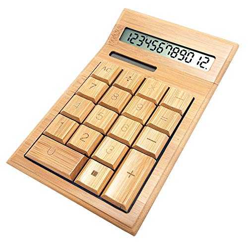 - Glovion Eco-Friendly Finely Handcrafted 12 Digits Solar Powered Nature Bamboo Wood Calculator (Bend Style)