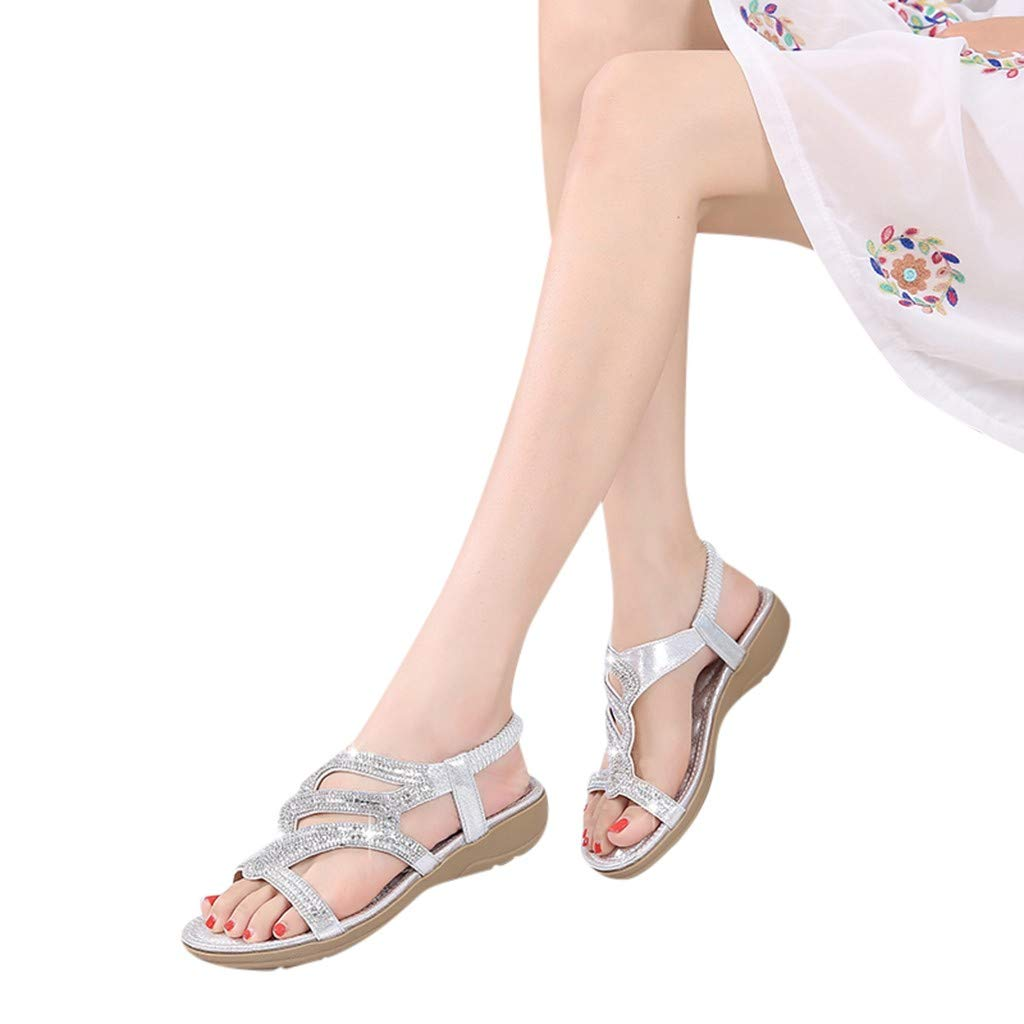 Women Flat Wedge Sandals Casual Bohemia Ankle Wrap Open Toe Crystal Shoes (US:7.5, Silver) by Yihaojia Women Shoes
