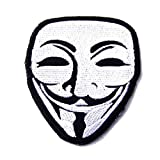 V Vendetta Anarchy Guy Fawkes Mask Skull Embroidered Biker Iron On Patch