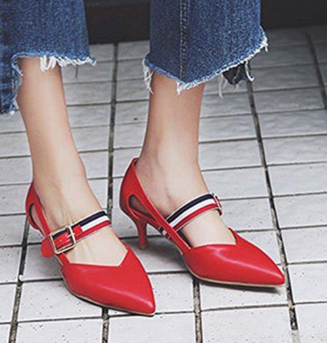 Aisun Womens Unieke Gesp Riem Jurk Puntige Gesloten Teen Stiletto Kitten Hakken Sandalen Schoenen Rood