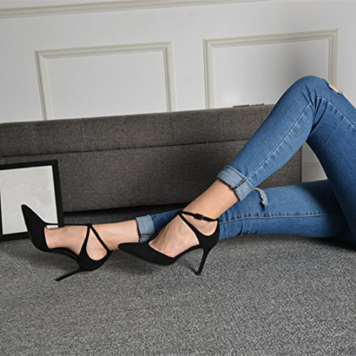 Elegant Fine Shoes Buckle Lady Hollow With Work Occupation Point A 34 Strap Spring All Match 8Cm Shoes Sandals Leisure Cross MDRW Elegant A Black pZ4q5Bww