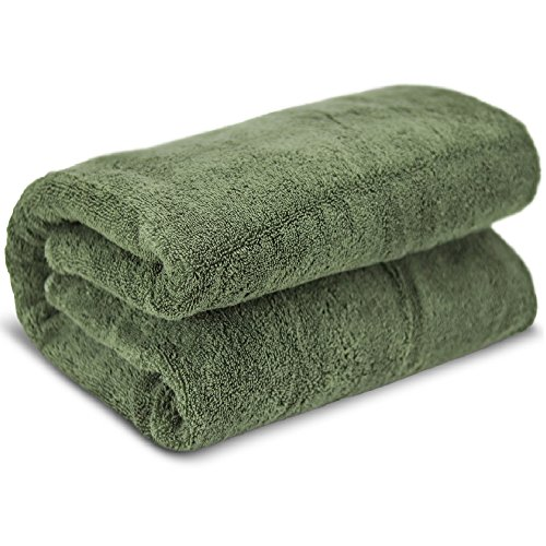 Towel Bazaar 100% Turkish Cotton Multipurpose Towels-Large Bath Sheet/Beach Towel/Bath Towel, Eco-Friendly (Oversized 40x80 inches, Moss Green)