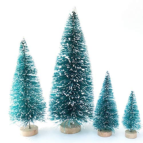 ARTSTORE Christmas Trees,32PCS Small Trees Sisal Snow Frost Plastic Winter Snow Ornaments Tabletop Trees for Xmas Party Home Party Diorama Models,Blue