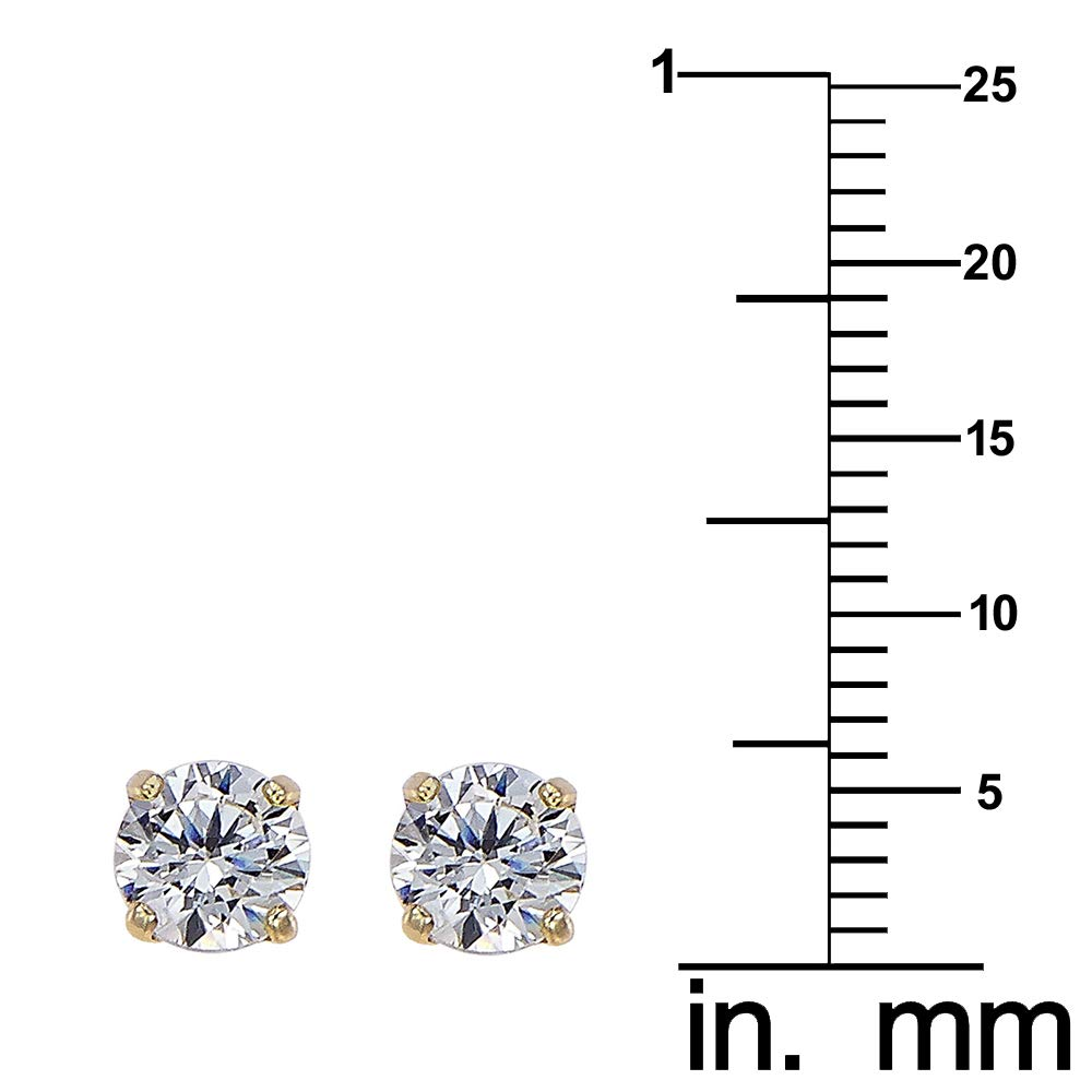 Choice of 3 mm to 8 mm 14k Yellow Gold Cubic Zirconia Solitaire Screwback Earring Studs