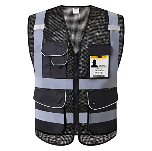 Mens High Visibility Vest - JKSafety 9 Pockets Class 2 High Visibility Zipper Front Safety Vest With Reflective Strips,HQ Breathable Mesh, Oxford Fabric for pocket materials. Black Meets ANSI/ISEA Standards (XX-Large, Black)