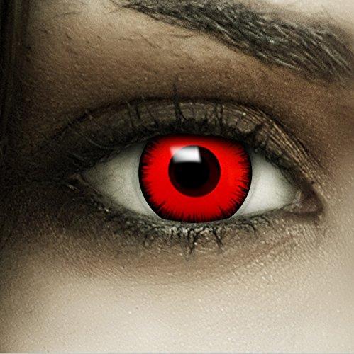 Farbige Kontaktlinsen MIT Stärke 'Volturi Vampir' rote Crazy Fun Linsen perfekt zu Halloween und Karneval