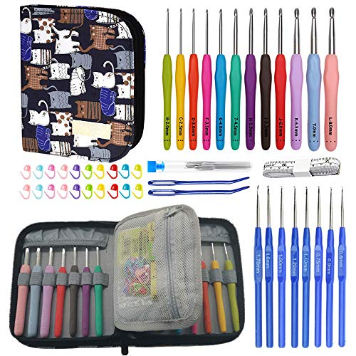 54PCS Crochet Hooks Set with Storage Bag, 12 Extreme Long Ergonomic Crochet Hooks & 8 Lace Crochet Hooks with Crochet Accessories