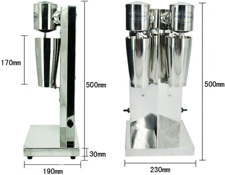 Meiney/_US Electric Milkshake Maker Stainless Steel Milk Shake Machine Speed Adjustable Double Head Drink Mixer Beverage Equipment Smoothie Milk Foam Mixer Blender