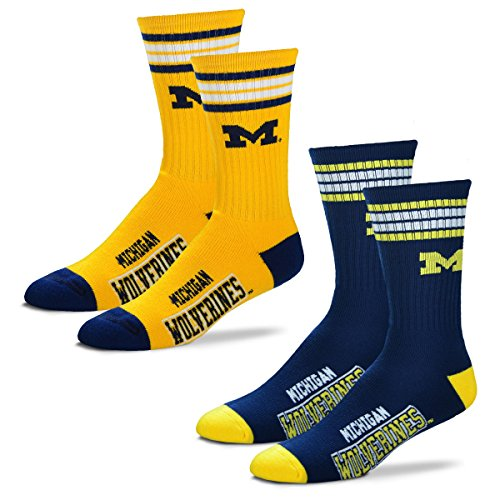 For Bare Feet Men's 4 Stripe Deuce Crew Socks-Michigan Wolverines-Large-2 Pack (Michigan Wolverines Game Day Watch)