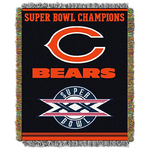 "Chicago Bears Super Bowl Commemorative Woven NFL Tapestry Throw by Northwest (48""""x60"""")"