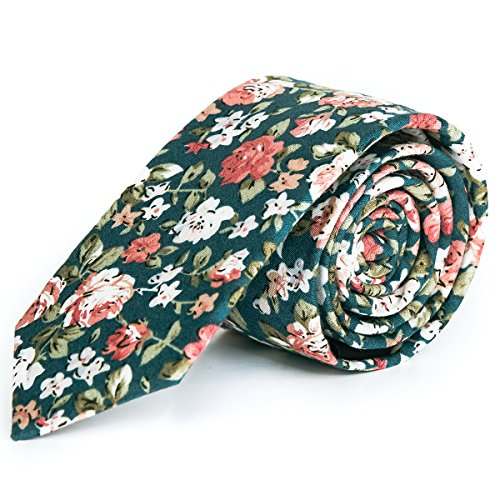 Pursuit Apparel Skinny Tie Hand Made Men's Cotton Printed Floral Neck Tie (Mudgee)