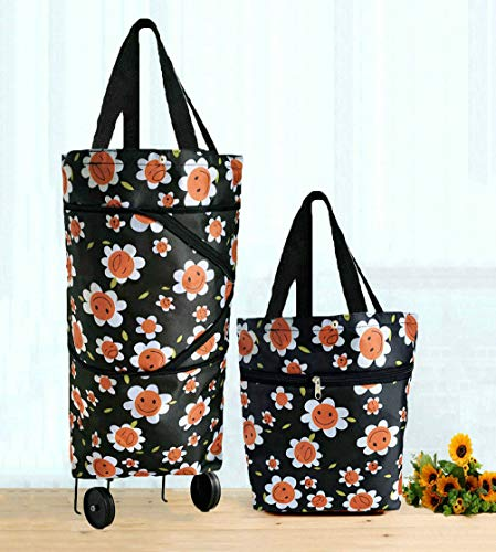 Cocobuy Collapsible Trolley Bags Folding Shopping Bag with Wheels Foldable Shopping Cart Reusable Shopping Bags Grocery Bags Shopping Trolley Bag on Wheels for Women (Smile Flower) (Shopping Bags With Wheels)