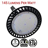 200w High Bay UFO Light - 29000 lumens - equal to 600w, 120-277V input with removable cord and plug. Dimmable 0-10V IP65 rated DLC Premium 145 lumens per watt 5 Year Warranty
