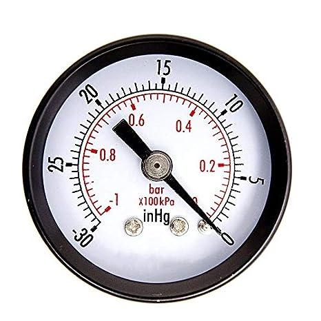 1-1//2 Mini manometro per Vuoto a Secco Utility Blk.Steel 1//4 Centro Posteriore 0PSI Strumenti di Misura per misuratore di Pressione 30HG Nero