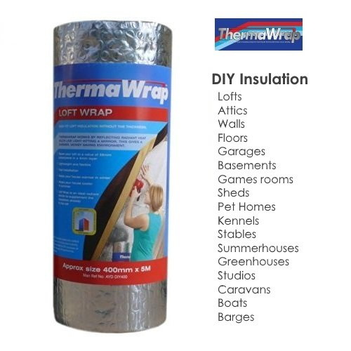 Thermawrap Maté riau d'isolation de toiture Pose facile 400 mm x 5 m x 3, 7 mm YBS Insulation ThermaWrap Loft Wrap 400mm x 5m x 3.7mm