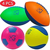 Macro Giant Foam Soft Colorful Sport Pack Set of 4, Mini 9 Inch Football x2, 6 Inch Soccer Ball x1, 6 Inch Basketball x1, Training Practice, School Playground, Kids Toy Gift, Birthday Gift