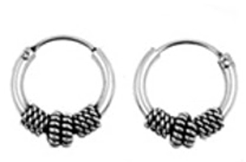 Sterling Silver 10mm Diameter Circular Braided Sides Bali Hoop Men's Earrings