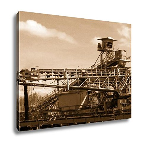 Ashley Canvas Large Conveyor Belt Carrying Coal And Emptying Onto A Huge Pile, Wall Art Home Decor, Ready to Hang, Sepia, 16x20, AG6176005