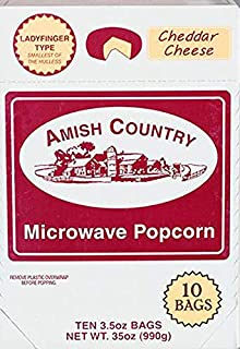 product image for Amish Country Popcorn | Old Fashioned Microwave Popcorn | Old Fashioned with Recipe Guide (Cheddar Cheese Ladyfinger, 10 Bags)