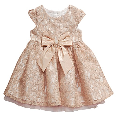 Sweet Heart Rose Little Girls' Cap Sleeve Lace Occasion Dress with Bow Detail