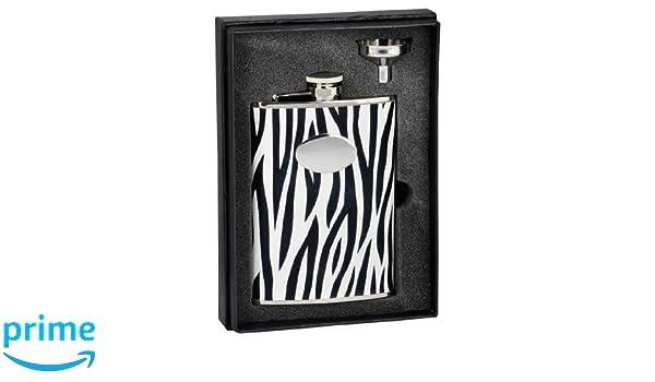 Home Kitchen Flasks Visol Holiday Essential Ii Zebra Black White Leather Liquor Flask Gift Set 8 Oz Silver