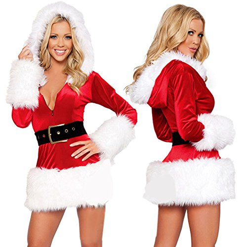 BADI NA Women's Long Sleeve Santa's Sweetie Fancy Christmas Costume Dress Hoo... (Plus Size Sexy Santa Christmas Costume)