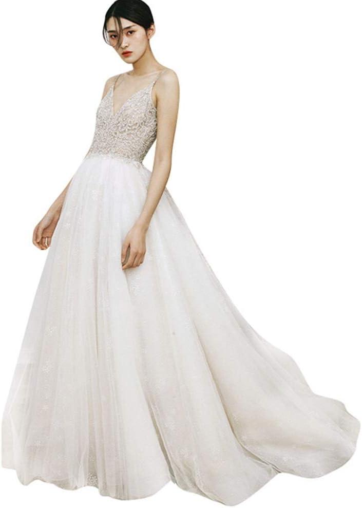 花嫁のウェディングドレス ヴィンテージ優雅なウェディングドレスディープVレースのウェディングドレスは、教会の庭の結婚式のために非常に適しています レースのセクシーなウェディングドレス (色 : White, Size : 4)