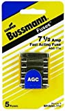Bussmann AGC Glass Type Fuses - 7.5 Amp BP/AGC-7-1/2