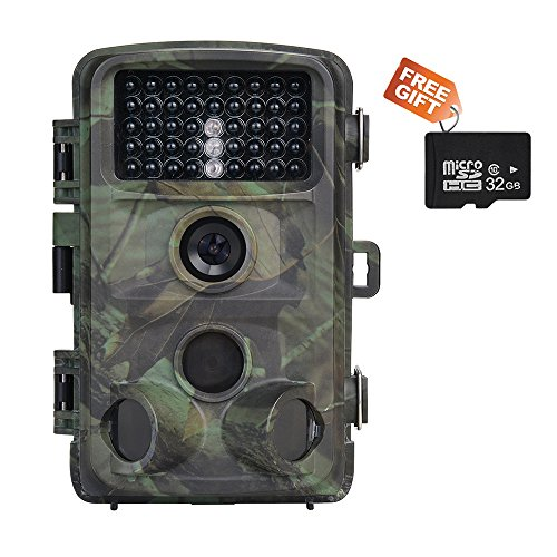 Trail Camera Nicam 1080P Trail Hunting Camera with Infrared Night Vision 12MP Game Camera with 32G SD Card Waterproof with 0.2S Trigger Speed
