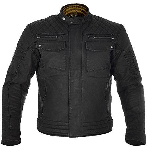 Oxford Hardy Waxed Cotton Motorcycle Motorbike Jacket - Black ()
